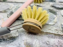 Load image into Gallery viewer, Dish Brush with Replaceable Head - Natural Plant Based Bristles (Pink/Grey/Black)
