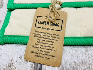 Cotton 'Lunch Swag' Bag - Green/Red