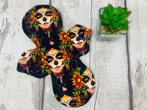 "Day of the Dead - 9"" Heavy Cloth Menstrual Pad"