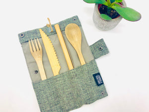 Bamboo Cutlery and Hessian Travel Pouch (Slate / Berry)