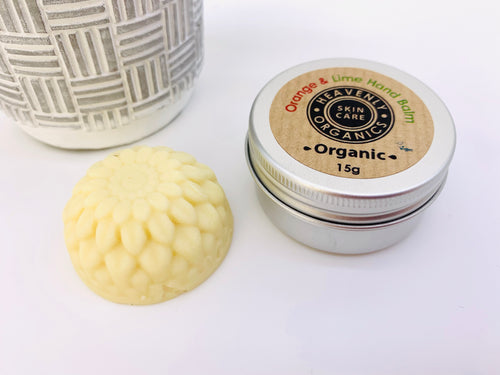 Organic Solid Hand Balm and Tin - Orange and Lime