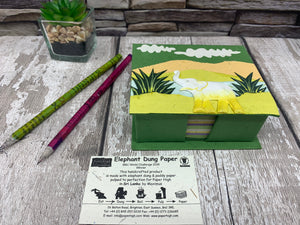 Elephant Dung Notepad and Note Holder Box - Fair Trade