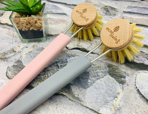 Dish Brush with Replaceable Head - Natural Plant Based Bristles (Pink/Grey/Black)