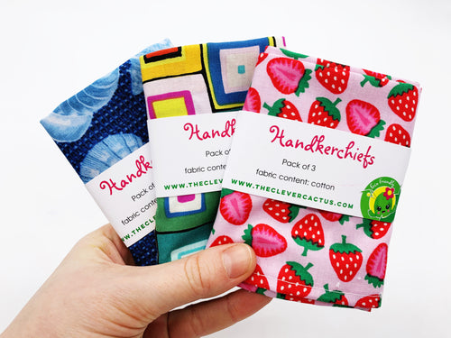 A pack of 3 x Cotton Handkerchiefs