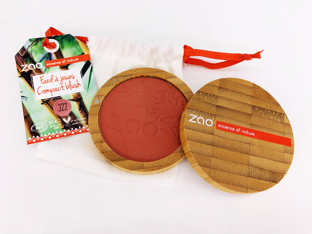 Zao Blush Compact with Refillable Bamboo Case Brown Pink (322)