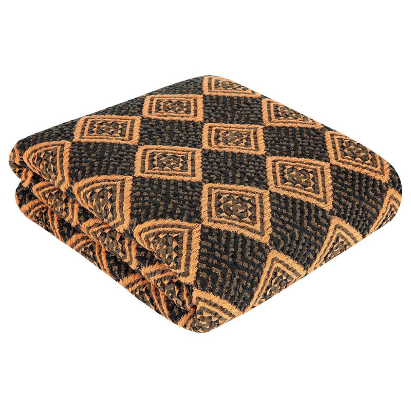 Athena Throw | Coffee & Dark Orange - Trimita