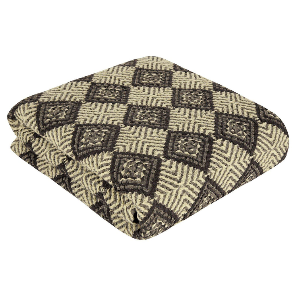Athena Throw | Soft Yellow & Coffee - Trimita