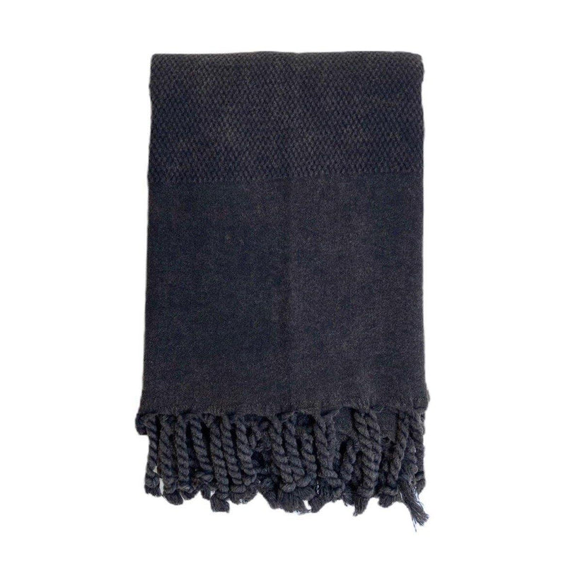 Hammam Towel | Honey Comb Stone Washed | Black