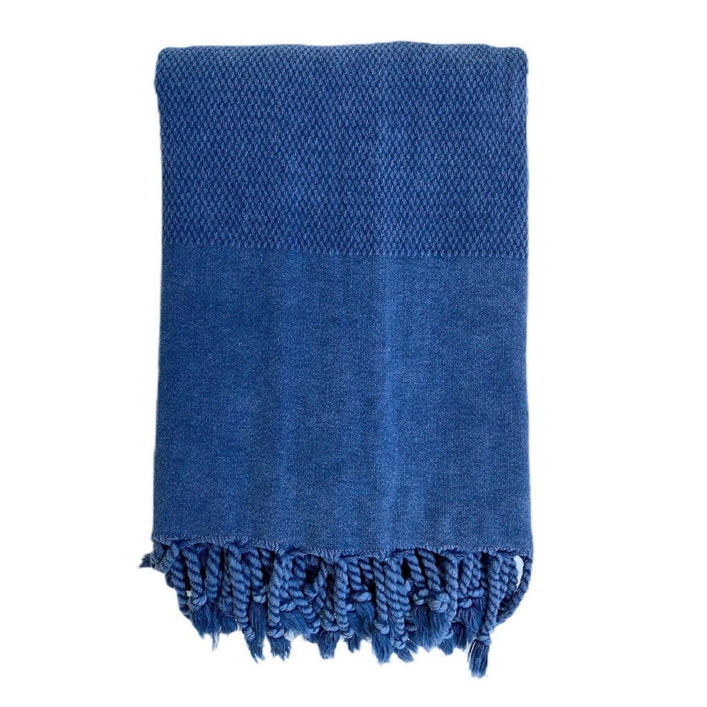 Hammam Towel | Honey Comb Stone Washed | Blue