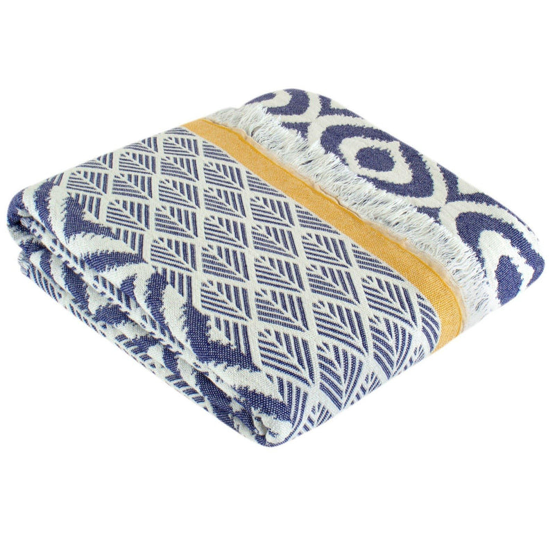 Throw Blanket | Comfort | 135x170 cm | Denim Blue & Yellow - Trimita