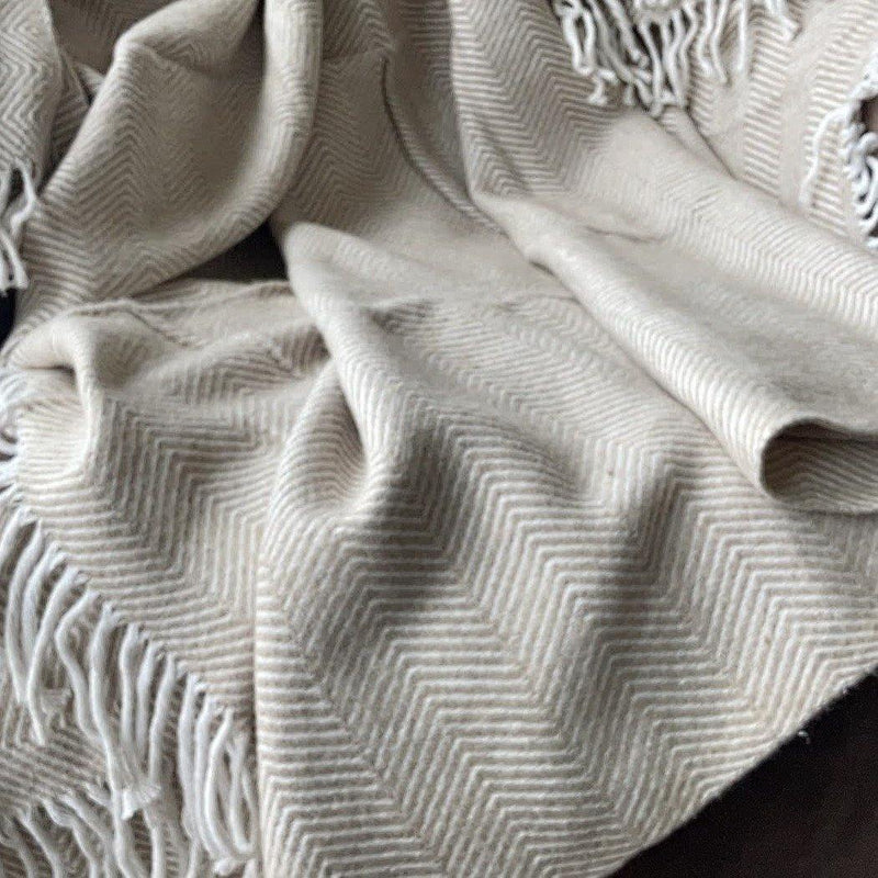 Throw Blanket | Herringbone | 130x170 cm | Beige