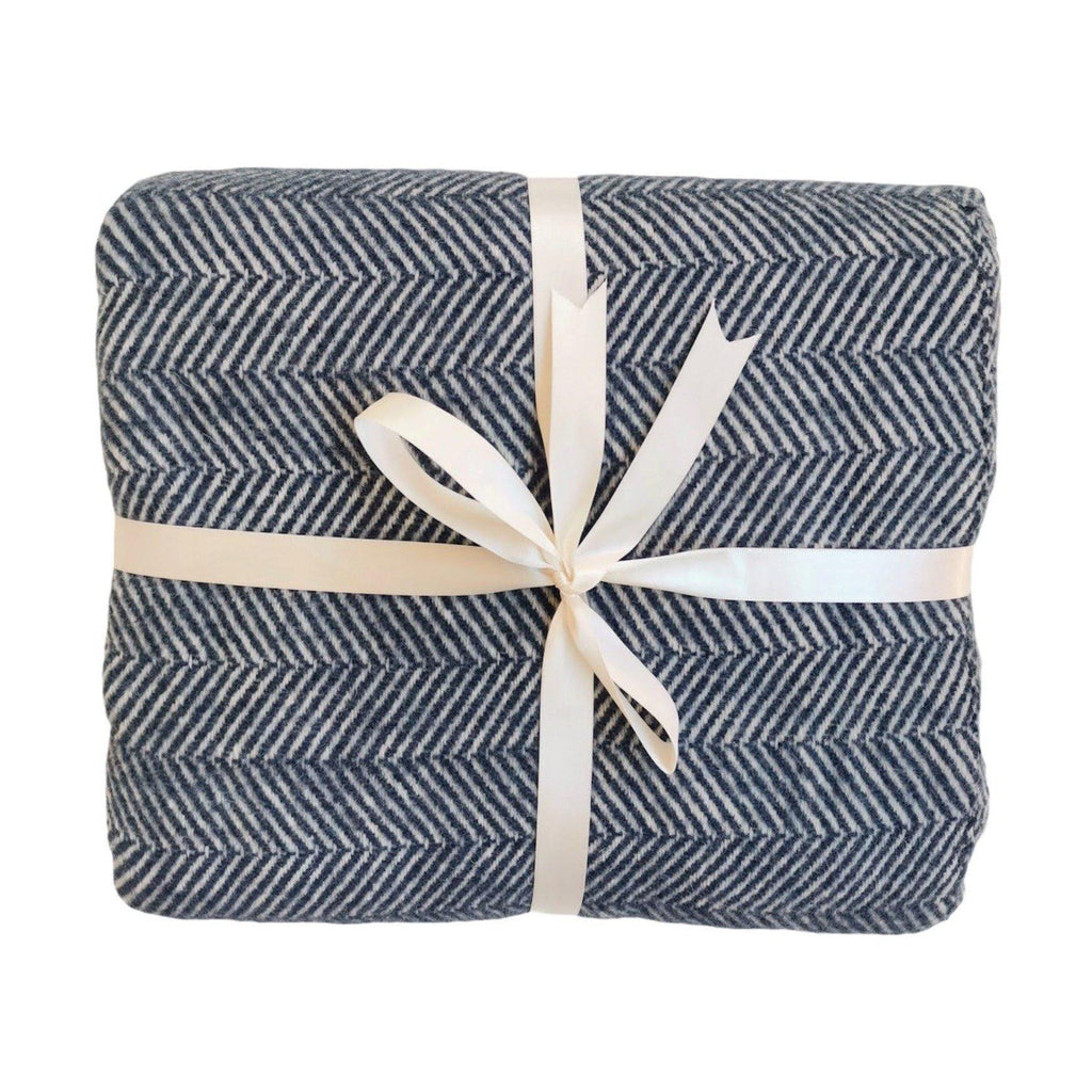 Throw Blanket | Herringbone | 130x170 cm | Navy Blue - Trimita