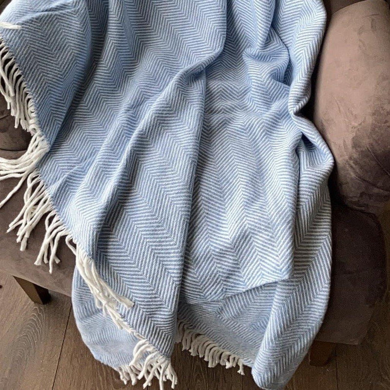Blanket | Herringbone | Baby Blue