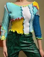 Load image into Gallery viewer, MIXED TEXTURE CROP SLEEVE JUMPER TOP