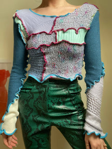 MIXED TEXTURE LONG SLEEVE JUMPER TOP
