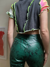 Load image into Gallery viewer, MIXED TEXTURE TIE FRONT CROP TOP