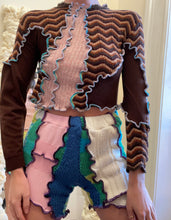 Load image into Gallery viewer, MIXED TEXTURE PATCHWORK CROP SWEATER