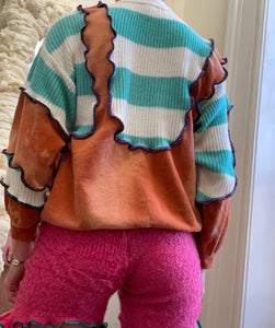 MIXED TEXTURE KNITTED JUMPER