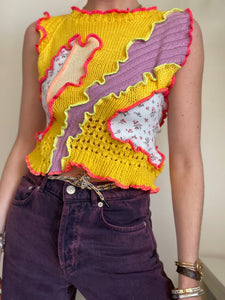 MIXED TEXTURE KNITTED TANK TOP