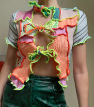 Load image into Gallery viewer, MIXED KNIT TIE FRONT CROP TOP