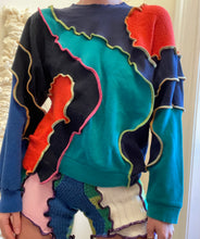 Load image into Gallery viewer, MIXED TEXTURE PATCHWORK SWEATSHIRT
