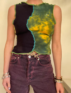 MIXED TEXTURE TANK TOP WITH TIE BACK