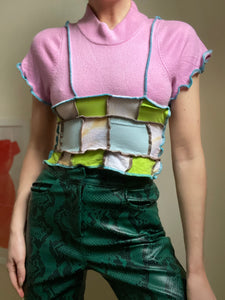MIXED TEXTURE TIE BACK CROP TOP