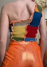Load image into Gallery viewer, MIXED KNIT ONE SHOULDER CROP TOP