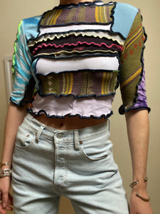 MIXED TEXTURE CROP SLEEVE TOP