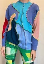 Load image into Gallery viewer, MIXED JERSEY ASYMMETRIC PATCHWORK SWEATSHIRT