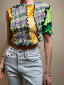 MIXED TEXTURE ASYMMETRIC SLEEVE TOP