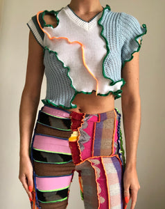 MIXED TEXTURE TOP WITH CUTOUT