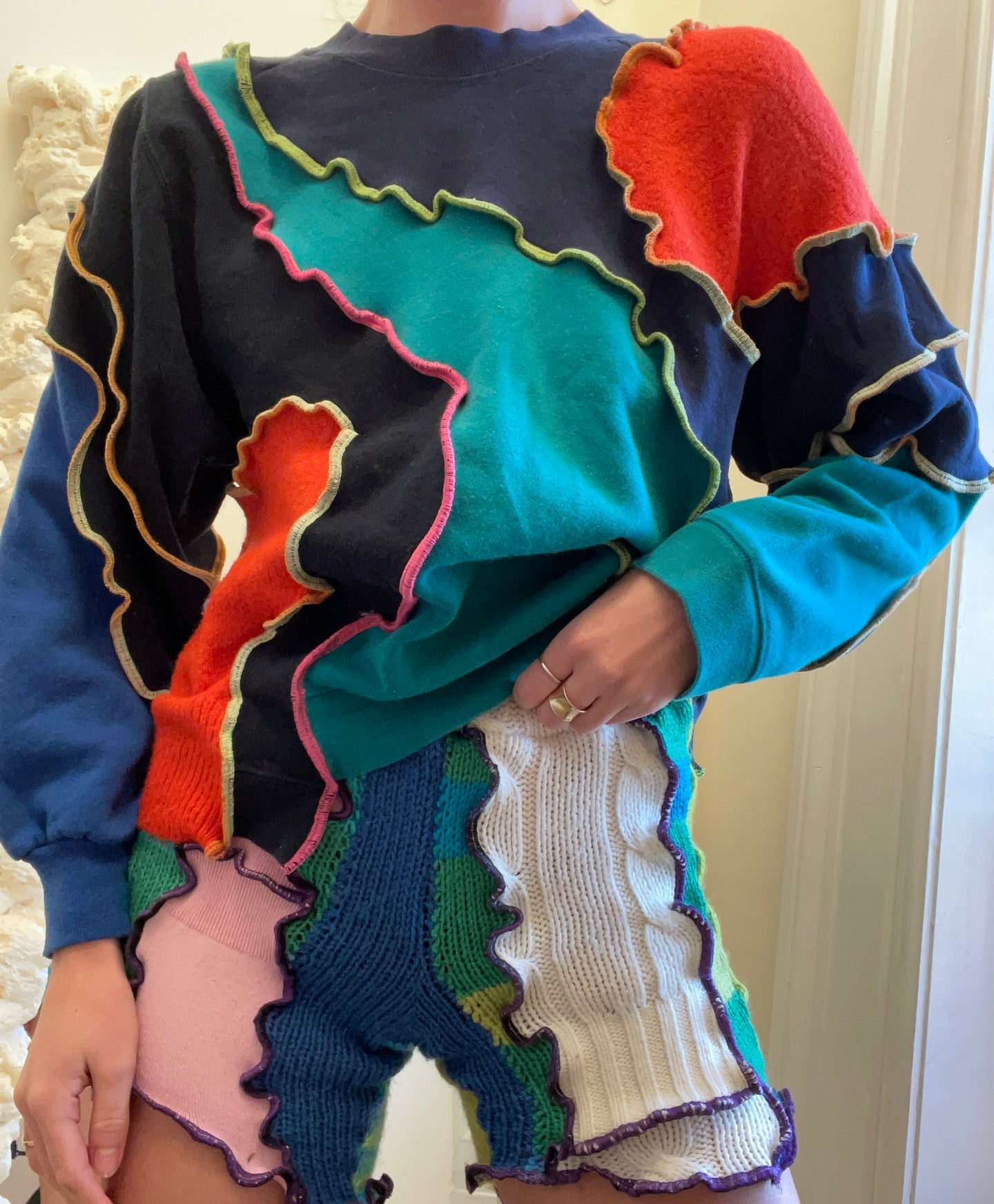 MIXED TEXTURE PATCHWORK SWEATSHIRT