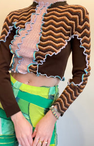 MIXED TEXTURE PATCHWORK CROP SWEATER