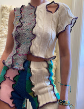 Load image into Gallery viewer, MIXED TEXTURE ASYMMETRIC KNITTED TOP WITH CUTOUT
