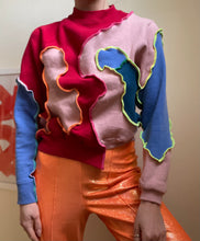 Load image into Gallery viewer, MIXED JERSEY ASYMMETRIC CROP SLEEVE JUMPER
