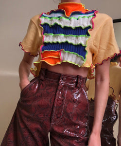 MIXED TEXTURE PATCHWORK CROPPED TOP