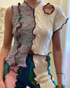 MIXED TEXTURE ASYMMETRIC KNITTED TOP WITH CUTOUT