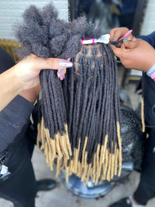 Human Hair Loc Extensions - Natural Black with Blonde Tips Color #1B / #27