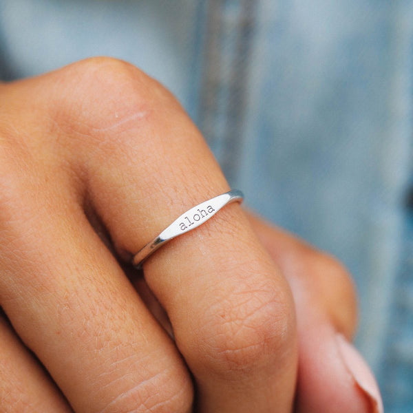 Aloha Vibes Stacking Ring in Silver