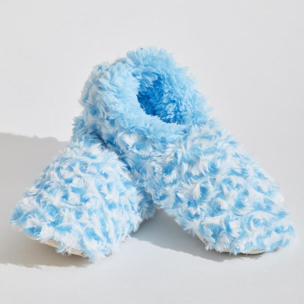 Women's Stripe Fur Snoozies in Light Blue