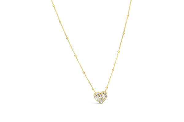 Heart Charm & Chain Necklace Pavé - Gold
