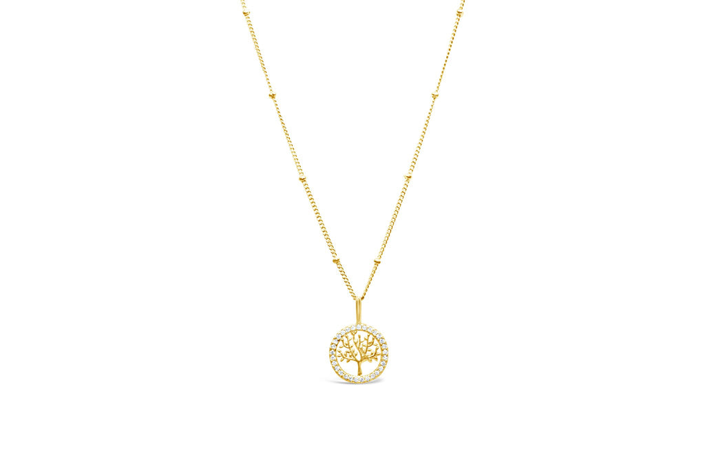 Tree of Life Charm & Chain Necklace Pavé - Gold