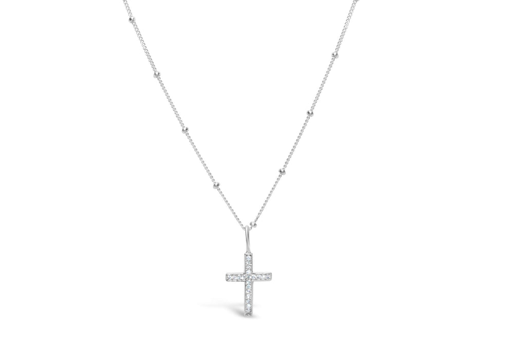 Cross Charm & Chain Necklace Pavé  - Silver