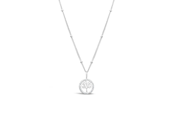 Tree of Life Charm & Chain Necklace Pavé - Silver