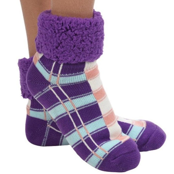 Purple Plaid Cuffed Sherpa Lined Sock