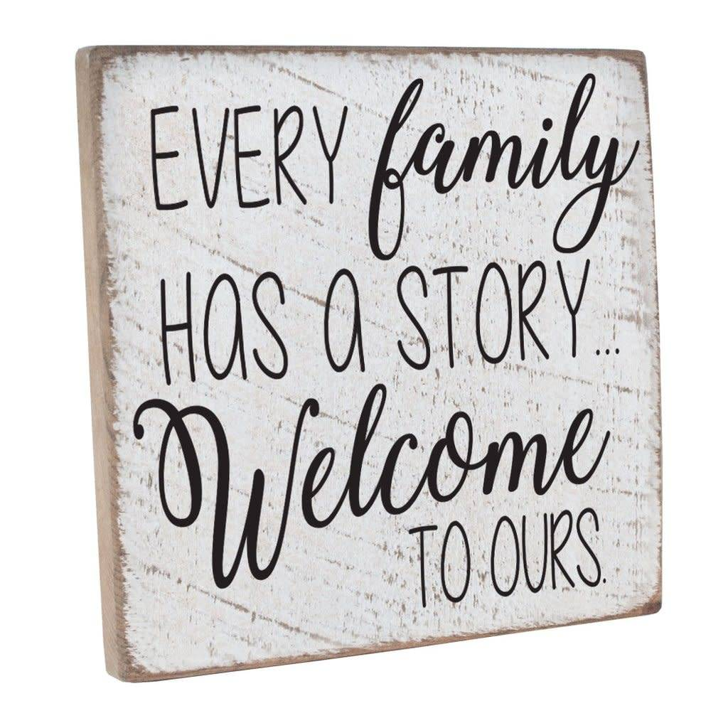 Vintage Square - Welcome To Ours - White, Black