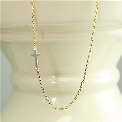 Silver Cross Sideways Necklace