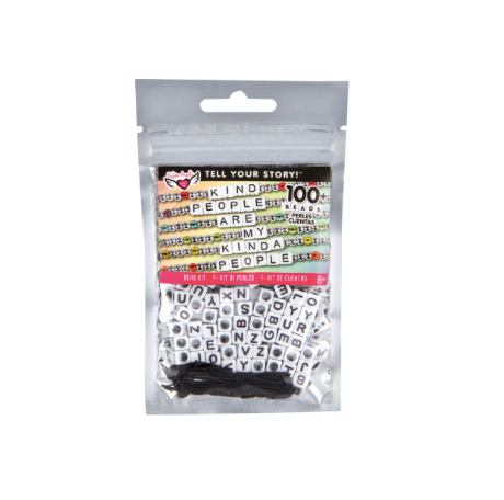 Tell Your Story Alphabet Bead Bag-White Cubes