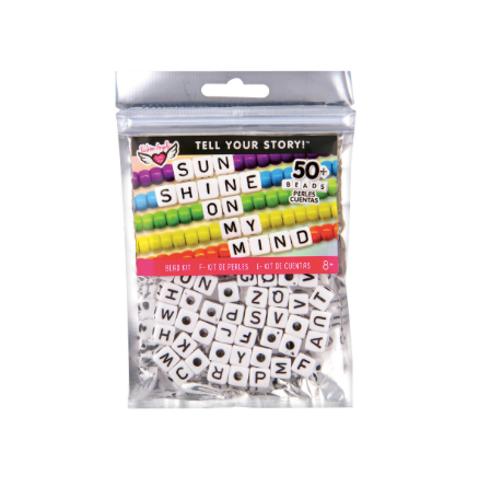 Tell Your Story Alphabet Bead Bag-LG White Cubes